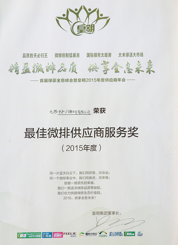 雄狮-2015年最佳微排代应商服务奖