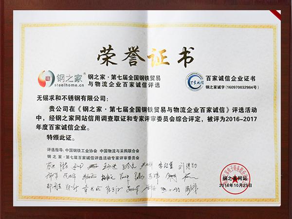 2016年百家诚信企业证书